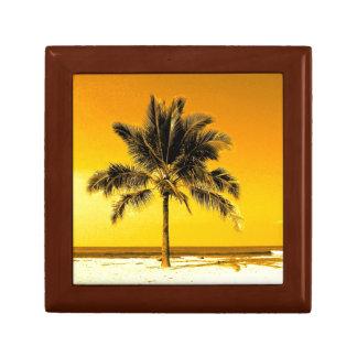 Palmera en la playa en sol de oro caja de regalo