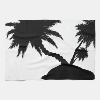 Palmera en la silueta 3 de la isla toallas de mano