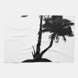 Palmera en silueta de la isla toallas de mano