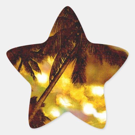 Palmera exótica pegatina en forma de estrella