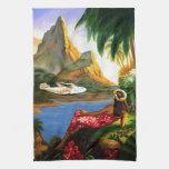 Palmera hawaiana tropical del avión de mar del vin toalla de mano
