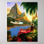 Palmera hawaiana tropical del avión de mar del vin póster