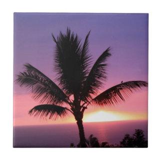 Palmera hawaiana y puesta del sol colorida tejas  ceramicas