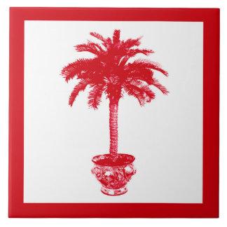 Palmera Potted - de color rojo oscuro y blanca Azulejo Cuadrado Grande