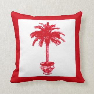 Palmera Potted - de color rojo oscuro y blanca Cojín Decorativo