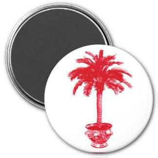 Palmera Potted - de color rojo oscuro y blanca Imán Redondo 7 Cm