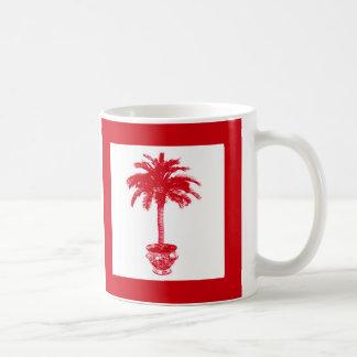 Palmera Potted - de color rojo oscuro y blanca Taza De Café