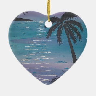 Palmera tropical adorno navideño de cerámica en forma de corazón
