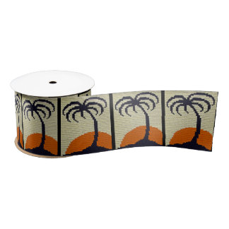 Palmera tropical con el ganchillo anaranjado de la lazo de raso