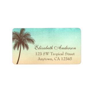 Palmera tropical de la playa personalizada etiqueta de dirección