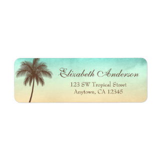 Palmera tropical de la playa personalizada etiquetas de remite