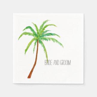 Palmera tropical de la playa servilletas desechables