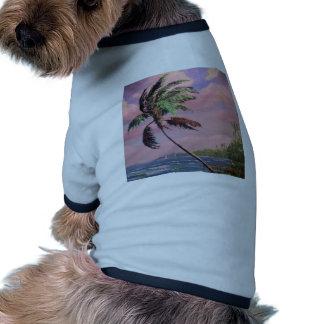 Palmera tropical de las vacaciones camiseta con mangas para perro