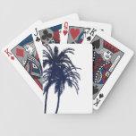 Palmera tropical del azul marino y blanca cartas de juego