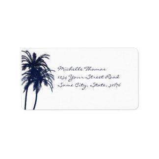 Palmera tropical del azul marino y blanca etiqueta de dirección