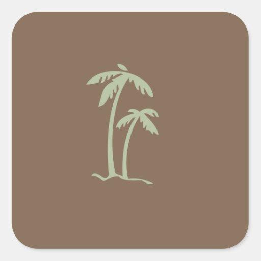 Palmera tropical del escape pegatina cuadrada