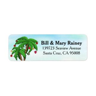 Palmera tropical del navidad etiquetas de remite