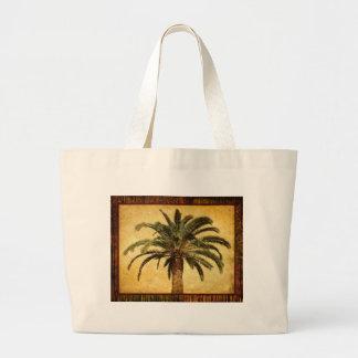 Palmera tropical del vintage bolsa tela grande