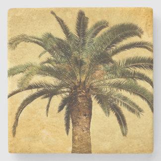 Palmera tropical del vintage de la isla del estilo posavasos de piedra