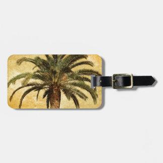 Palmera tropical del vintage etiquetas de equipaje