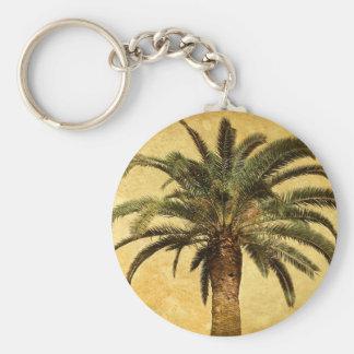 Palmera tropical del vintage llavero redondo tipo pin