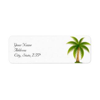 Palmera tropical etiqueta de remitente
