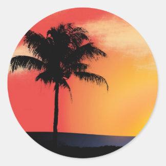 Palmera tropical pegatina redonda