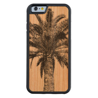 Palmera tropical retra de la isla blanco y negro funda de iPhone 6 bumper cerezo