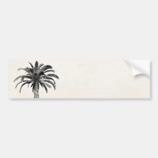 Palmera tropical retra de la isla en blanco y negr pegatina de parachoque