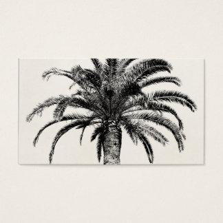 Palmera tropical retra de la isla en blanco y tarjetas de visita