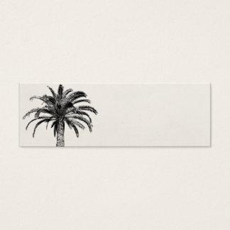 Palmera tropical retra de la isla en blanco y tarjetas de visita mini