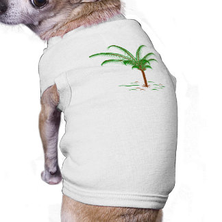 Palmera tropical playera sin mangas para perro