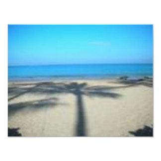 """Palmera y playa invitación 4.25"""" x 5.5"""""""