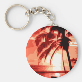 Palmera y puesta del sol roja llavero redondo tipo pin