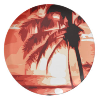 Palmera y puesta del sol roja plato para fiesta