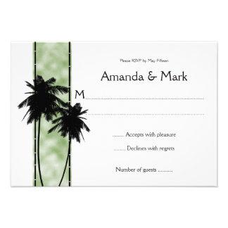 palmeras 3 5x5 y RSVP verde Invitación Personalizada