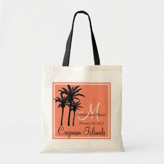 Palmeras anaranjadas del boda de playa bolsa tela barata