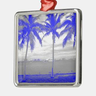 Palmeras azul de Miami, la Florida Adorno Cuadrado Plateado