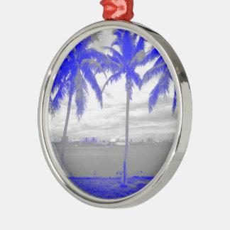 Palmeras azul de Miami, la Florida Adorno Redondo Plateado