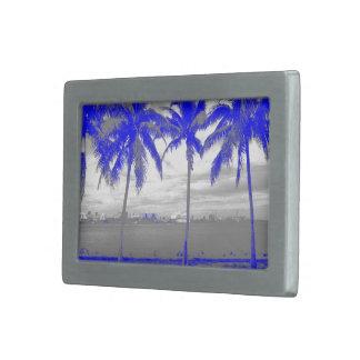 Palmeras azul de Miami, la Florida Hebilla Cinturón Rectangular