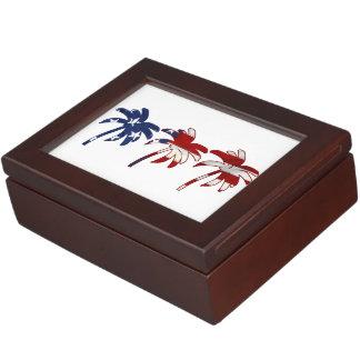 Palmeras azules blancas rojas cajas de recuerdos