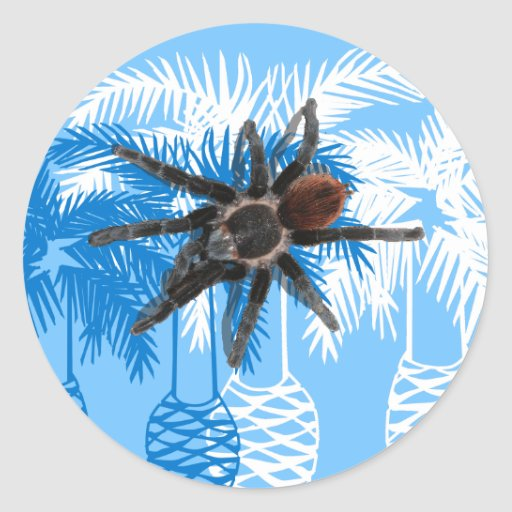palmeras azules con el tarantula pegatina redonda