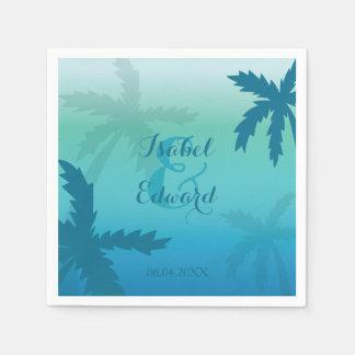 Palmeras azules de la aguamarina con nombres y el servilleta desechable