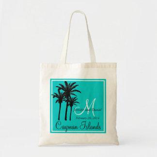 Palmeras azules del boda de playa del trullo bolsa