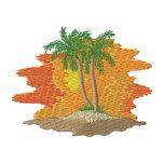 Palmeras con puesta del sol sudadera bordada