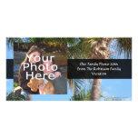 Palmeras contra el cielo azul tarjeta con foto personalizada