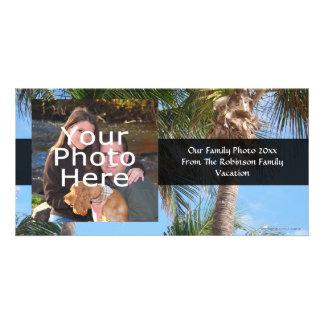 Palmeras contra el cielo azul tarjetas fotograficas personalizadas