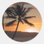 palmeras de la escena de la playa pegatinas redondas