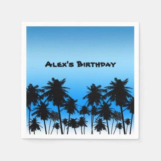 Palmeras de la playa negras y fiesta de cumpleaños servilleta de papel