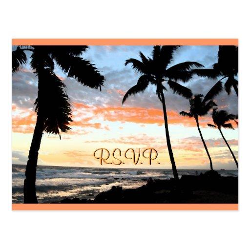 Palmeras de la playa que casan RSVP Tarjetas Postales
